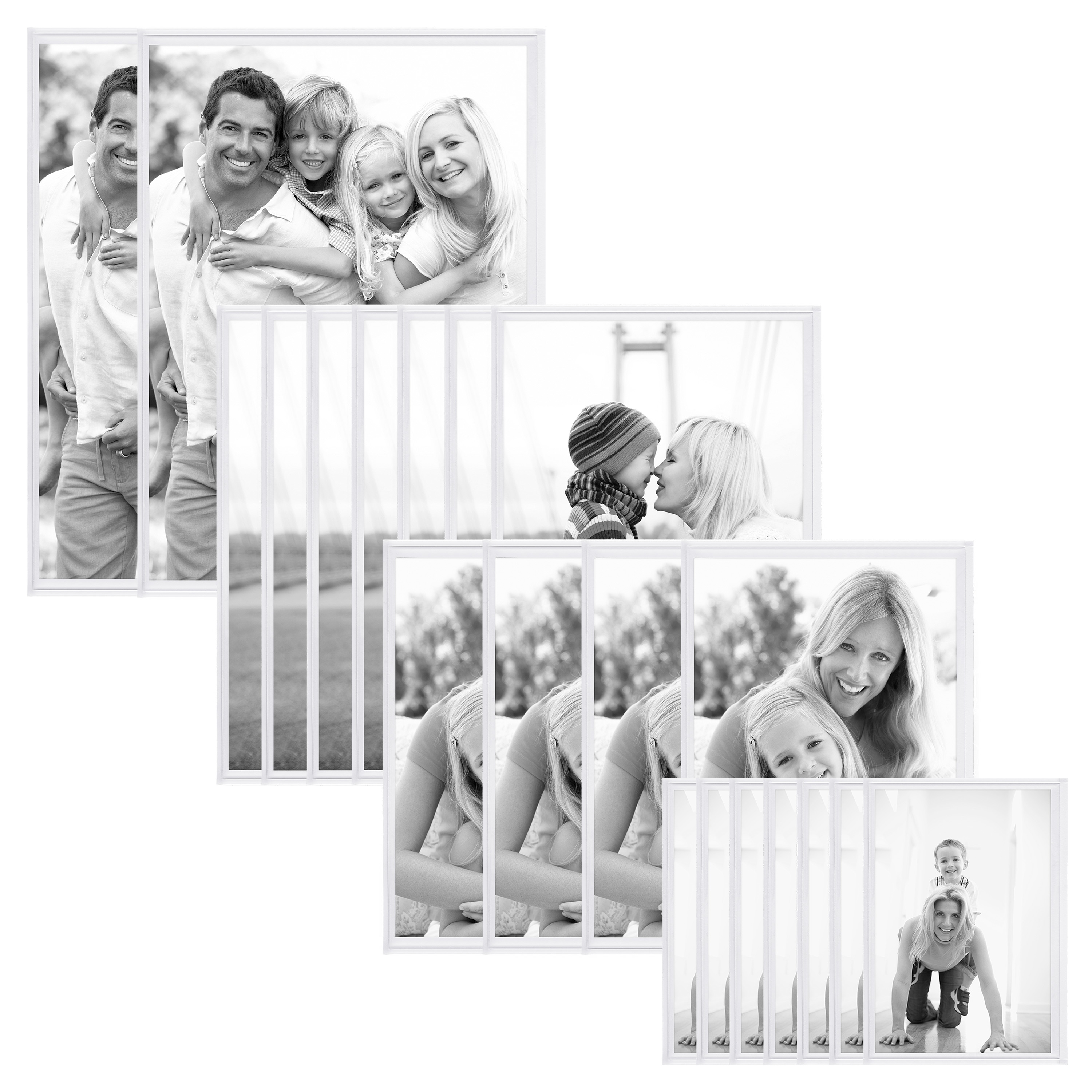 20 Piece Pocket Magnetic Picture Frame Set, Four Various Sizes