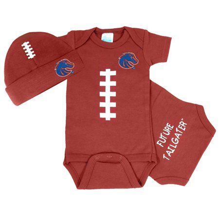 Boise State Bronco Baby Football Onesie and Cap - Broncos Outfit