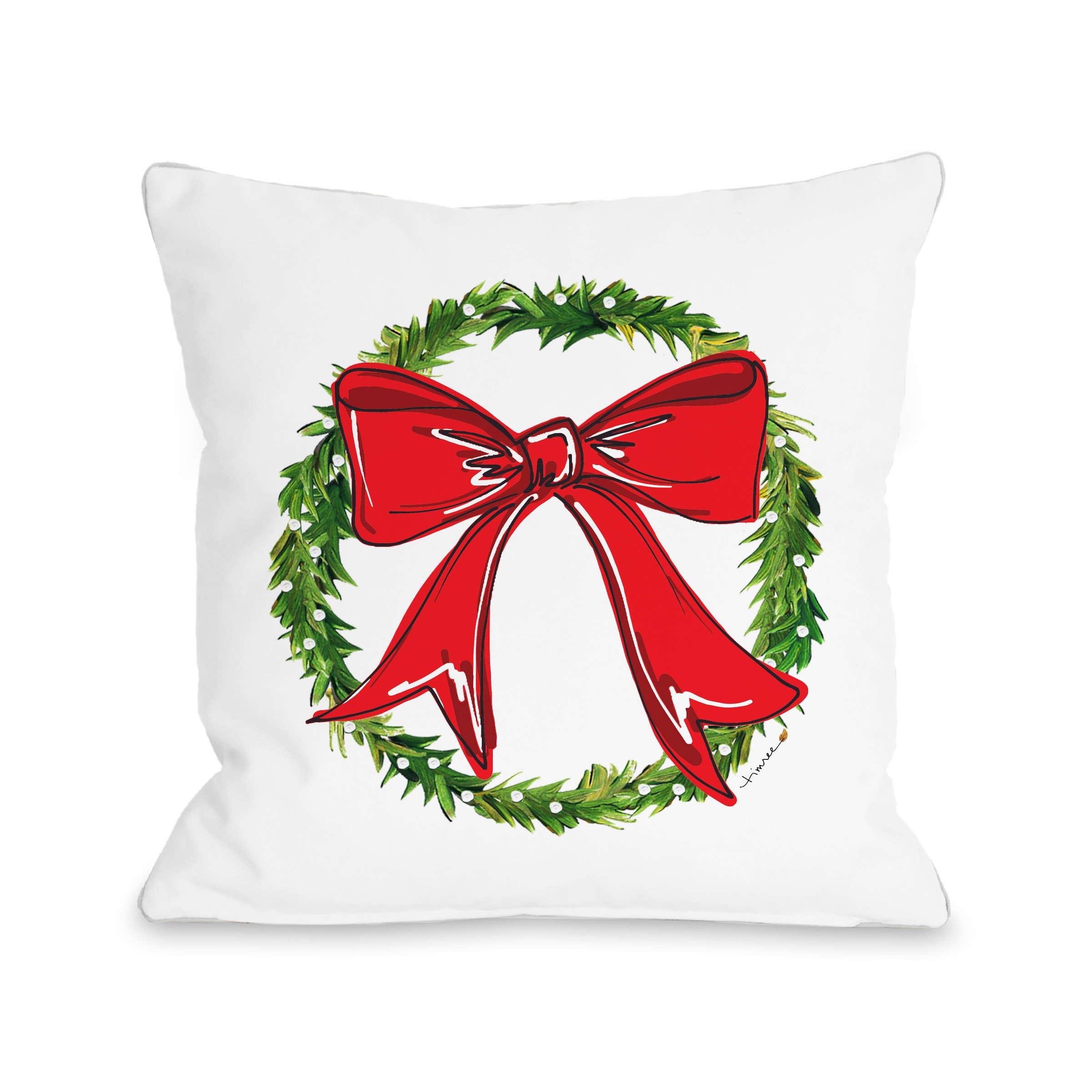 Bow Wreath - Red 16x16 Pillow by Timree Gold