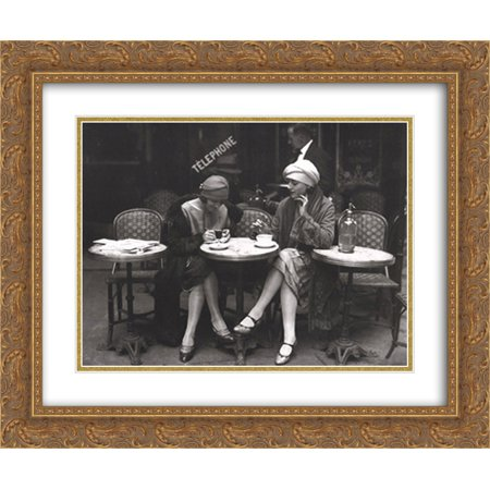 Cafe et Cigarette, Paris, 1925 2x Matted 16x14 Gold Ornate Framed Art Print by Roger Viollet