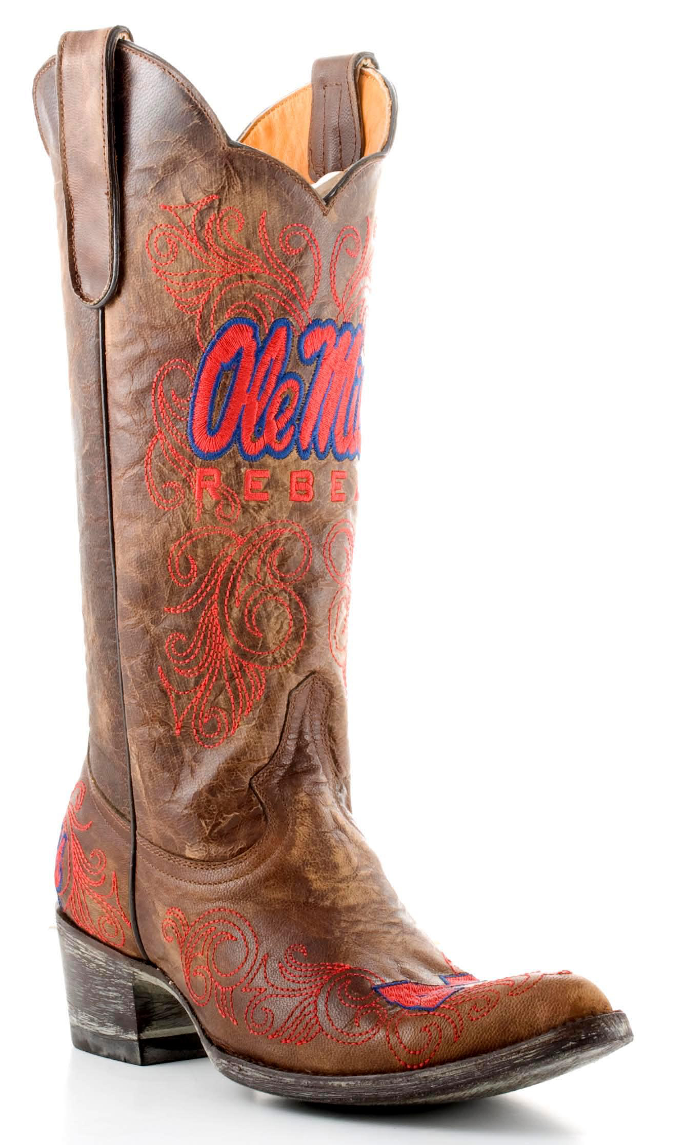 Gameday Boots Womens College Team Mississippi Rebels Brass MS-L018-1 by GameDay Boots