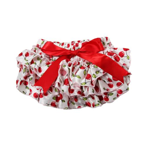 Baby Girls White Cherry Print Red Bow Satin Ruffle Bloomers 0-24 Months