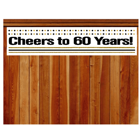 Item#060CIB 60th Birthday / Anniversary Cheers Wall Decoration Indoor / OutDoor Party Banner (10 x 50inches) - Cheers Banner