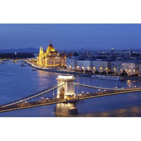 View over Danube River to Chain Bridge and Parliament, UNESCO World Heritage Site, Budapest, Hungar Print Wall Art By Markus Lange