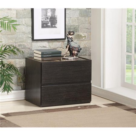 Benzara BM184786 Two Drawers Wooden Nightstand with Faux Marble Top, Espresso Brown - 20 x 17 x 24 in. - image 1 of 1