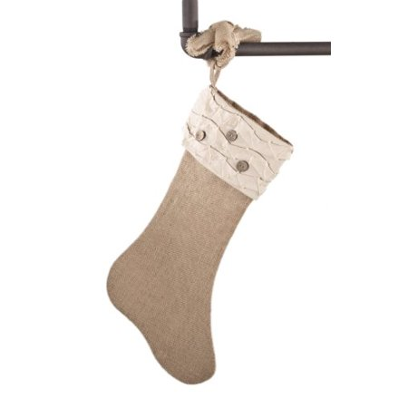 Holiday DÃcor Jute Design Natural Christmas Stocking, One Piece (ruffles and wood buttons) by fenncostyles.com ()