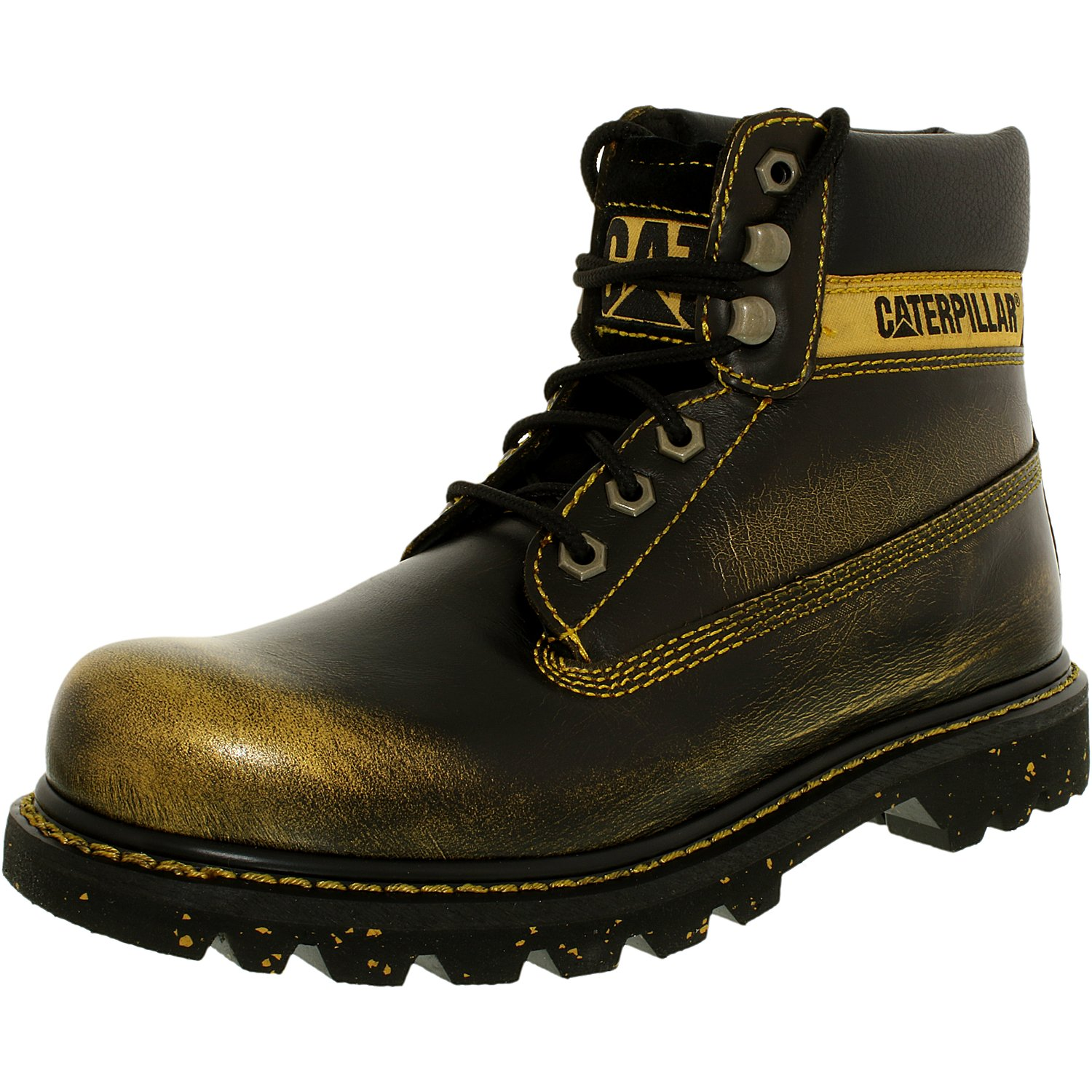 Cat Women's Colorado Leather Gold High-Top Industrial and Construction Shoe - 6.5M