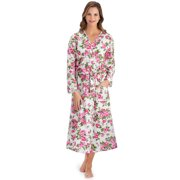 Floral Lace Trimmed Long Sleeve Pink Cotton Robe - Tie Closure, Long Sleeve