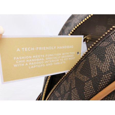 Best Michael Kors Abbey Medium Backpack Brown MK Signature Stud Acorn deal