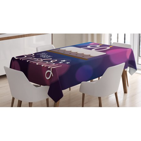 90th Birthday Decorations Tablecloth, Dreamy Layout with Color Spots Artistic Graphic Cake Design, Rectangular Table Cover for Dining Room Kitchen, 52 X 70 Inches, Blue Pink White, by Ambesonne
