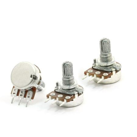 3pcs 5K ohm 6mm Split Knurled Shaft Single Linear Rotary Potentiometer ()