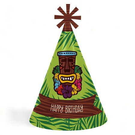 Tiki Luau - Cone Tropical Hawaiian Summer Happy Birthday Party Hats for Kids and Adults - Set of 8 (Standard Size)
