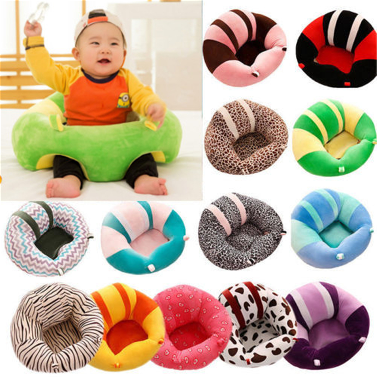 Baby Sofa Seat Learn Sit Feeding Chair Children Kids Sleeping Plush Cushion Toy
