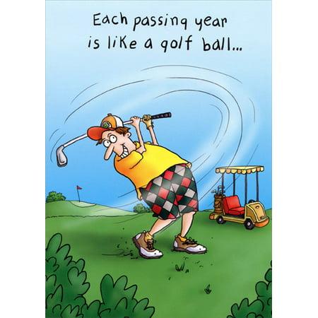 Oatmeal Studios Man Golfing Funny Masculine Birthday Card