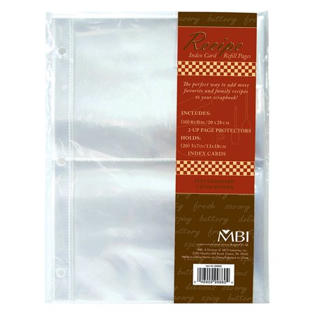 - MBI 5x7 Inch Recipe 2-Up Refill Pages, 10pk, 20 Pockets (899860), This package contains an additional ten 11 inch x 8-1/2 inch page protectors for use.., By MCS