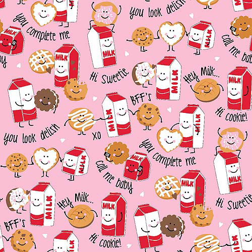 Springs Creative Flannel BFF Milk and Cookies Fabric By The Yard