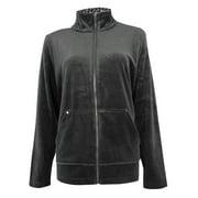 Jones New York Women's Leopard Collar Velour Jacket