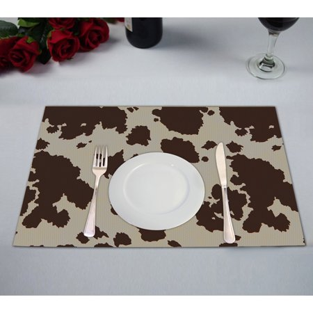 GCKG Vintage Big Cow Bull Fur Animal Table Placemat 12x18 Inch Set of 2](Animal Table)