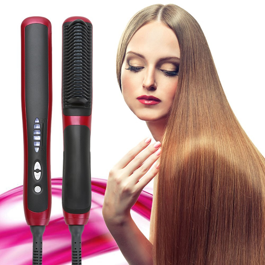 Ceramic Hair Straightener Brush,Professional Electric Hair Styling Tool,Anti-Scald Hair,Instant Heating,Easy Straightening at Home