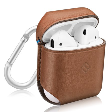 Fintie AirPods Genuine Leather Case - Protective Earbud Cover Skin with Carabiner, Brown (Protective Leather Skin)