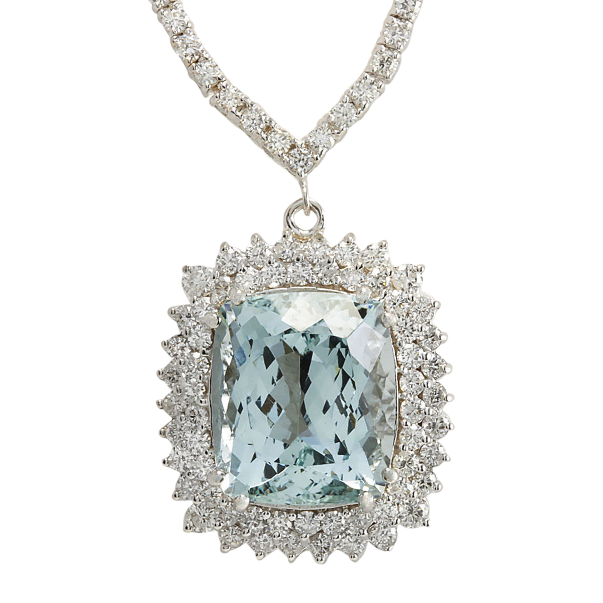 19.05 CTW Natural Aquamarine And Diamond Necklace In 14K White Gold by