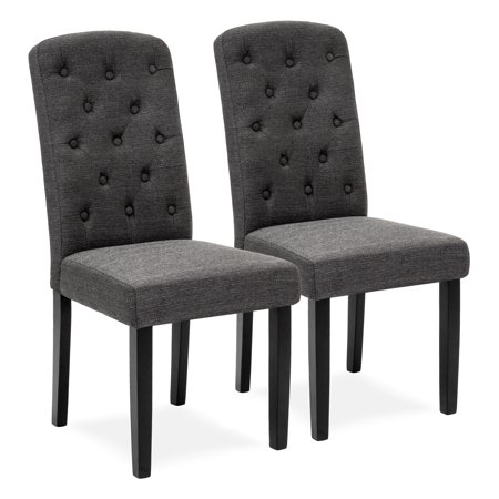 Best Choice Products Set of 2 Fabric Home Furniture Parsons Dining Chairs for Dining and Living Room w/ Tufted Backrest, Wood Legs - Gray ()