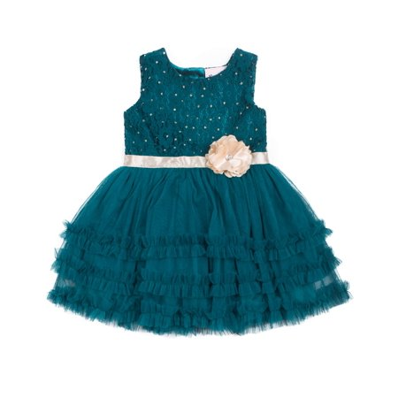 Little Lass Sleeveless Lace Top and Ruffle Tiered Special Occasion Holiday Dress (Baby Girls & Toddler - Occasion Dresses For Girls