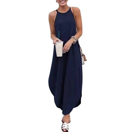 Women Plus Size Boho Style Maxi Dress Casual Loose Summer Beach Party Sundress Plain Sleeveless Swallowtail Strappy Long