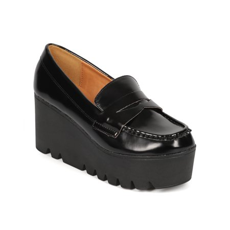 Qupid CF62 Women Patent Oxford Lug Sole Slip On Loafer Creeper Wedge