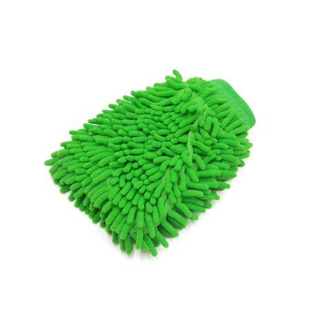 Green Microfiber Chenille Washing Cleaning Glove Mitten for Car Automobile