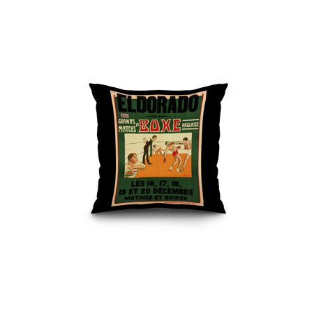 Eldorado   Grands Matchs De Boxes Anglaise Vintage Poster  Artist  Roowy  France C  1908  16X16 Spun Polyester Pillow  Black Border