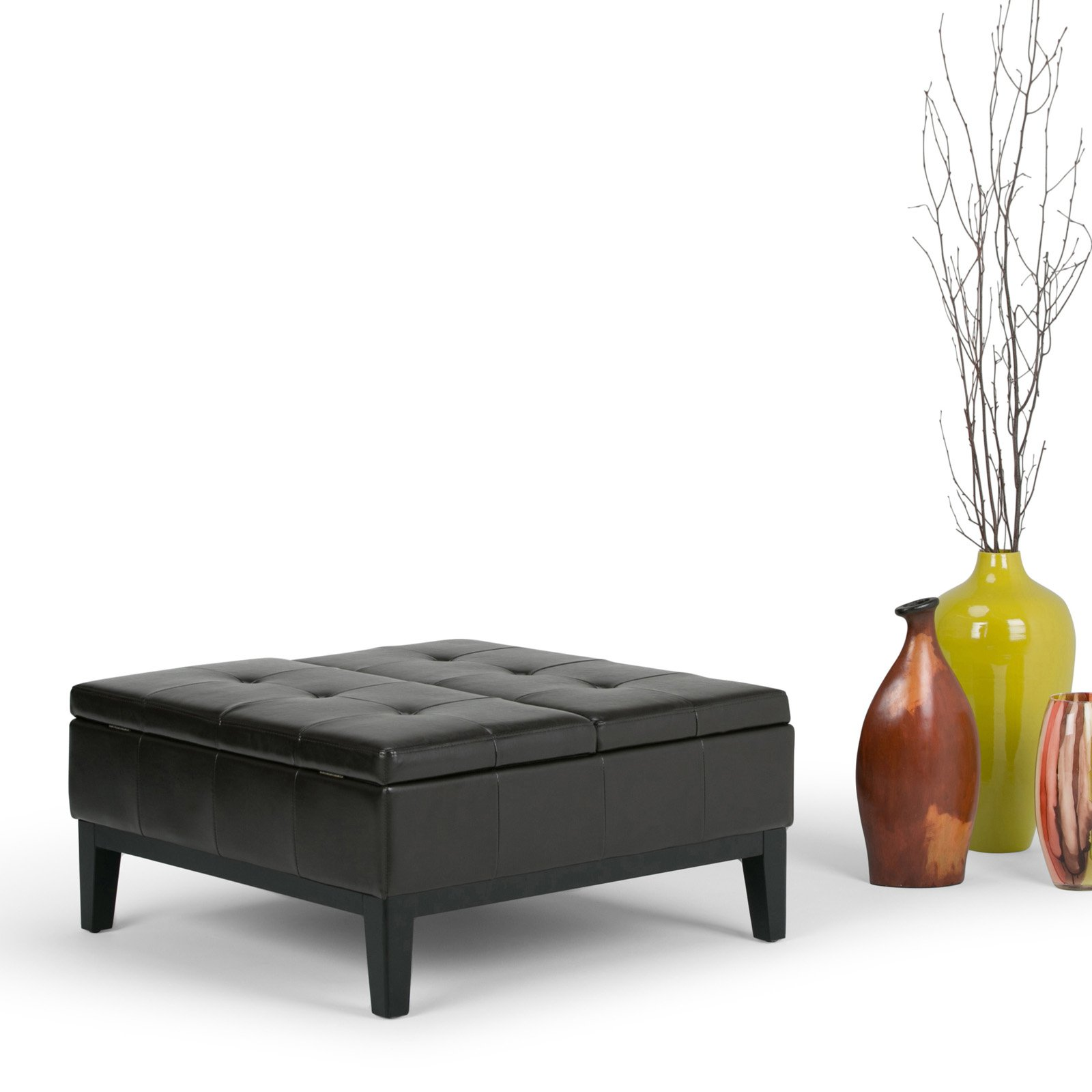 Simpli Home Dover Square Coffee Table Ottoman With Split Lift Up Lid