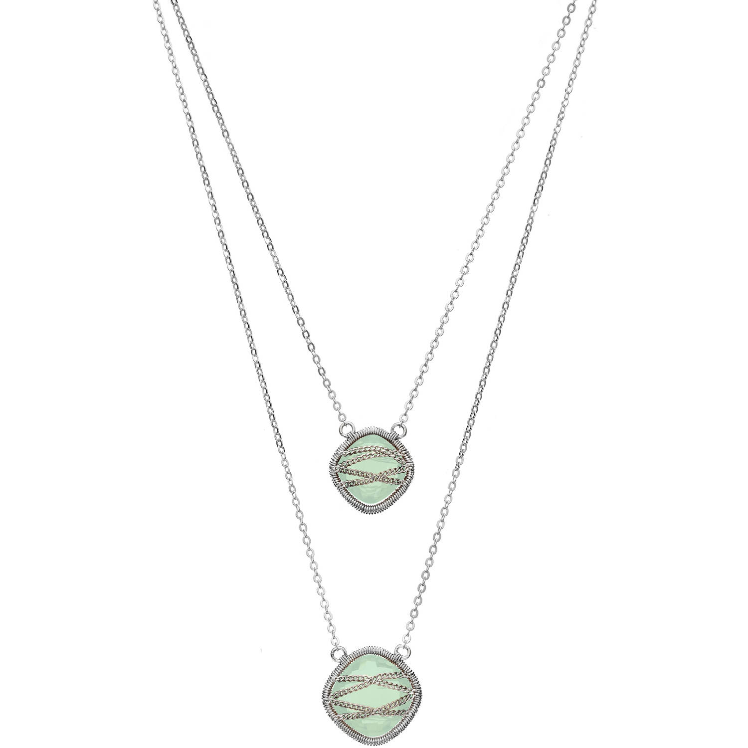5th & Main Rose Gold over Sterling Silver Hand-Wrapped Double-Drop Squared Chalcedony Stone Necklace by Generic