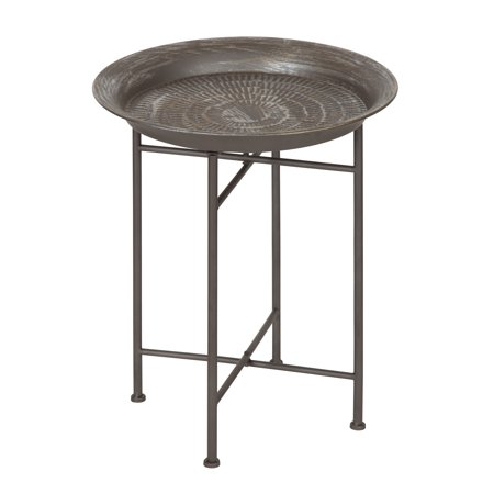 Kate and Laurel Mahdavi Hammered Metal Tray End Table, Pewter, 16.5 inch diameter Hammered Nickel Table