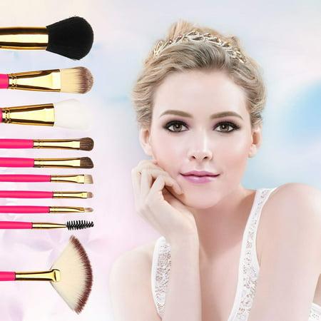 10 PCS Premium Professional Kabuki Makeup Brush Set Cosmetics Foundation Blending Blusher Eyeliner Eyeshadow Face Powder Brush Tool Kit - White Face Black Eyes Makeup Halloween