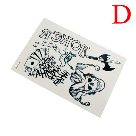 Waterproof Halloween Cosplay Party Joker Temporary Tattoos Full Body Stickers, D (Halloween Tattoos Oriental Trading)