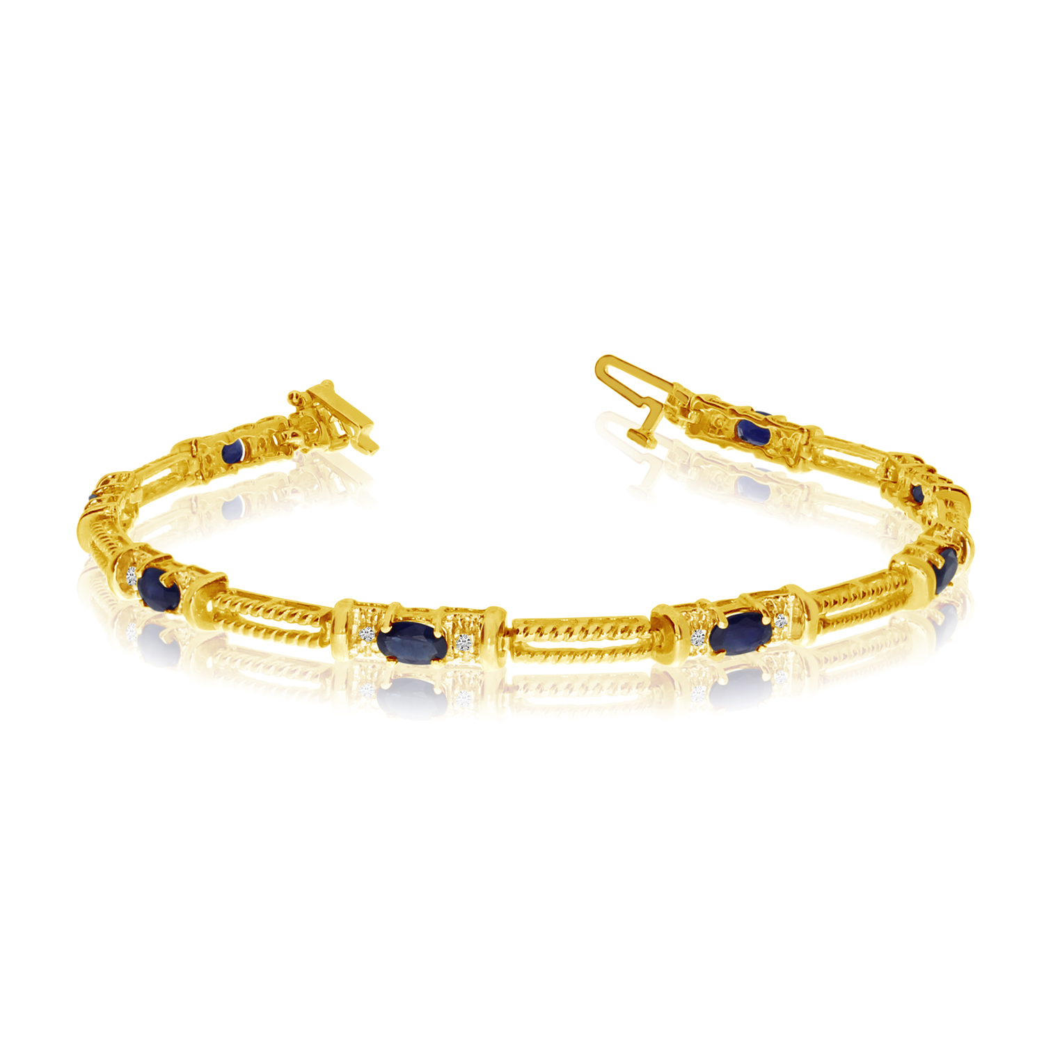 10k Yellow Gold Natural Sapphire And Diamond Tennis Bracelet by LCD