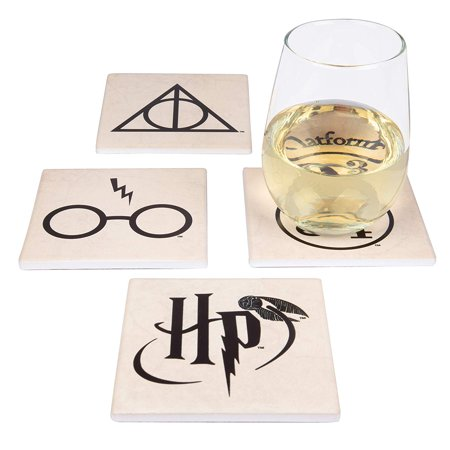 Harry Potter Coasters, 4 Piece Ceramic Coaster Set – Protect Tables from Drink Cups / Glasses – A Magical Novelty Gift for Potterheads, Ideal Housewarming, Birthday and Holiday Gift – 4 Unique Designs