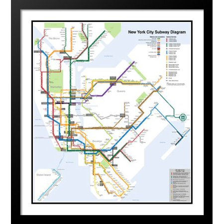 New York City Subway Map 25x29 Framed and Double Matted (New York Framed Photograph)