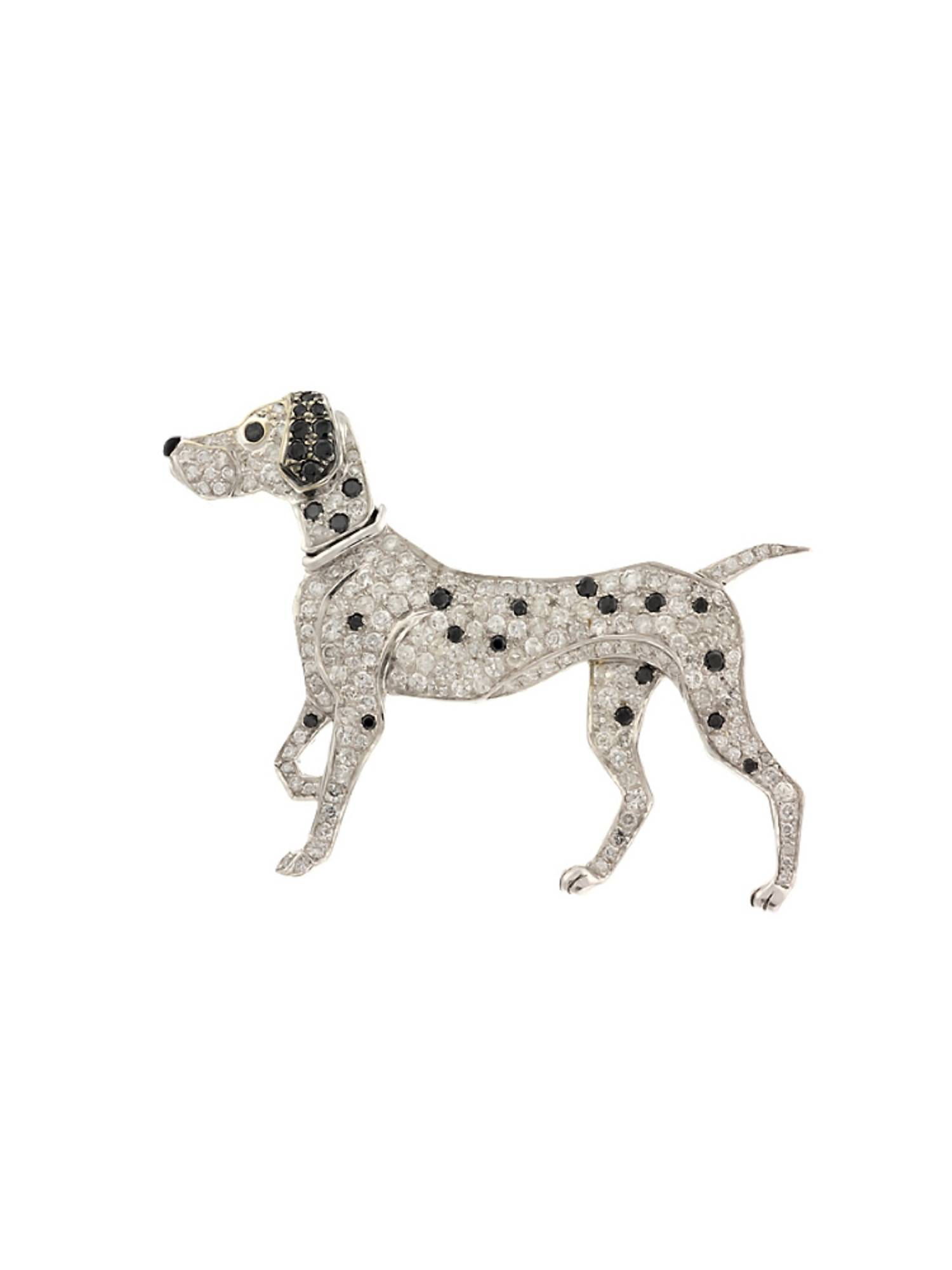 2.52 CT VS WHITE & BLACK DIAMOND DALMATIAN DOG BROOCH