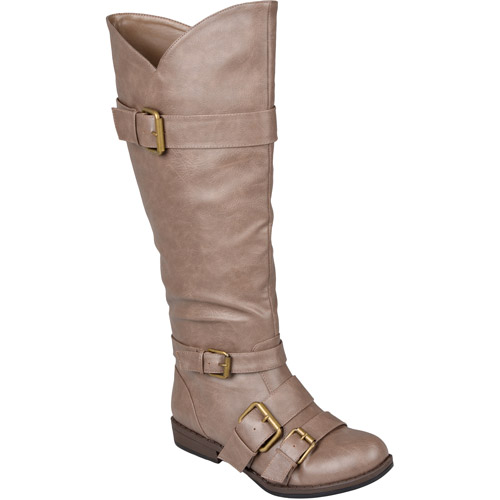 Brinley Co. Women's Buckle Detail Wide Calf Boots