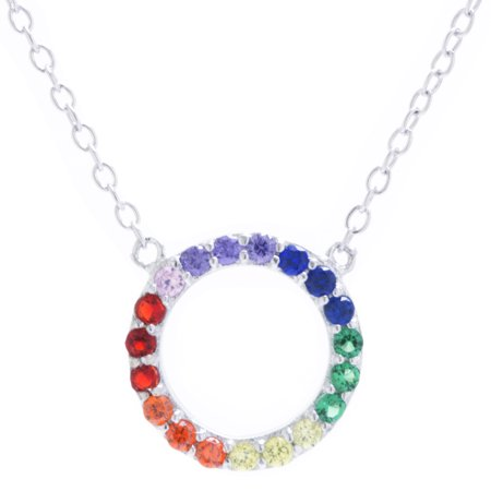 Marisol & Poppy 14kt Gold Plate Over Fine Sterling Silver Rainbow Cubic Zirconia Open Circle Necklace 18 inches