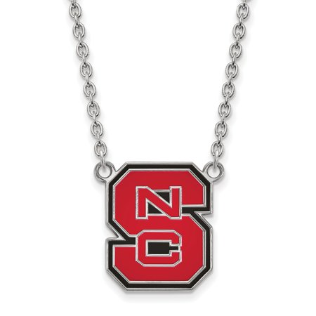 Sterling Silver LogoArt North Carolina State U Lg Enl Pendant w/Necklace - image 1 of 1