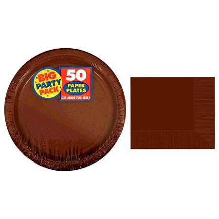 Tableware Amscan Brown Big Party Pack Paper Plates (50pc Set) and Amscan Chocolate Brown 2-Ply Luncheon Napkins (50pc Set) (Big Plate)