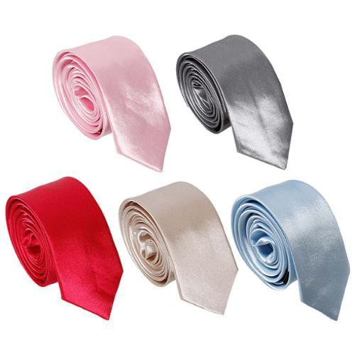 Bundle Monster 5pc Solid Color Mens Fashion Business Shinny Neckties - Set 12