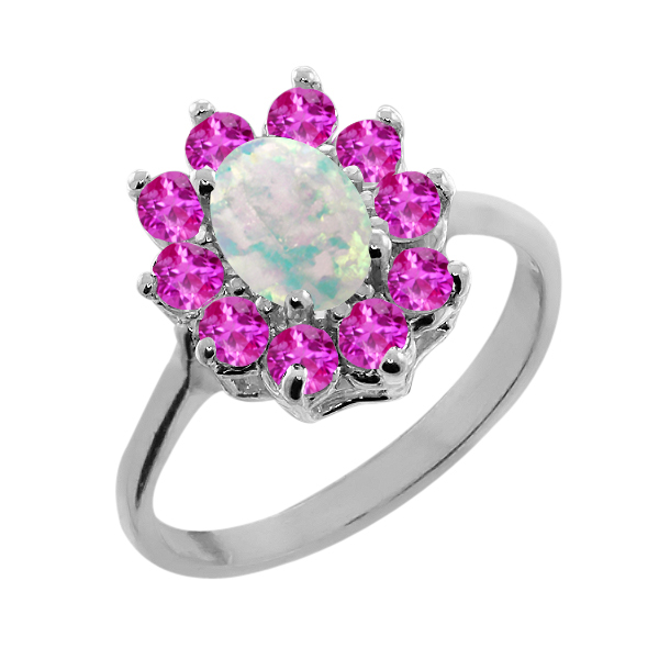 1.13 Ct Oval Cabochon White Simulated Opal Pink Sapphire 925 Silver Ring by