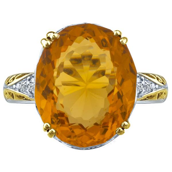 9.72 tcw Oval Cut Yellow Topaz & Diamond Huge Ring 2 tone .925 by J&H Jewelers