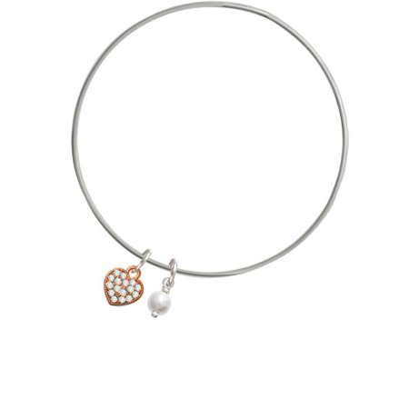 Small Rose Gold Tone Heart with Clear Crystals - Imitation Pearl Bicone Bangle Bracelet Clear Small Stone Bracelet
