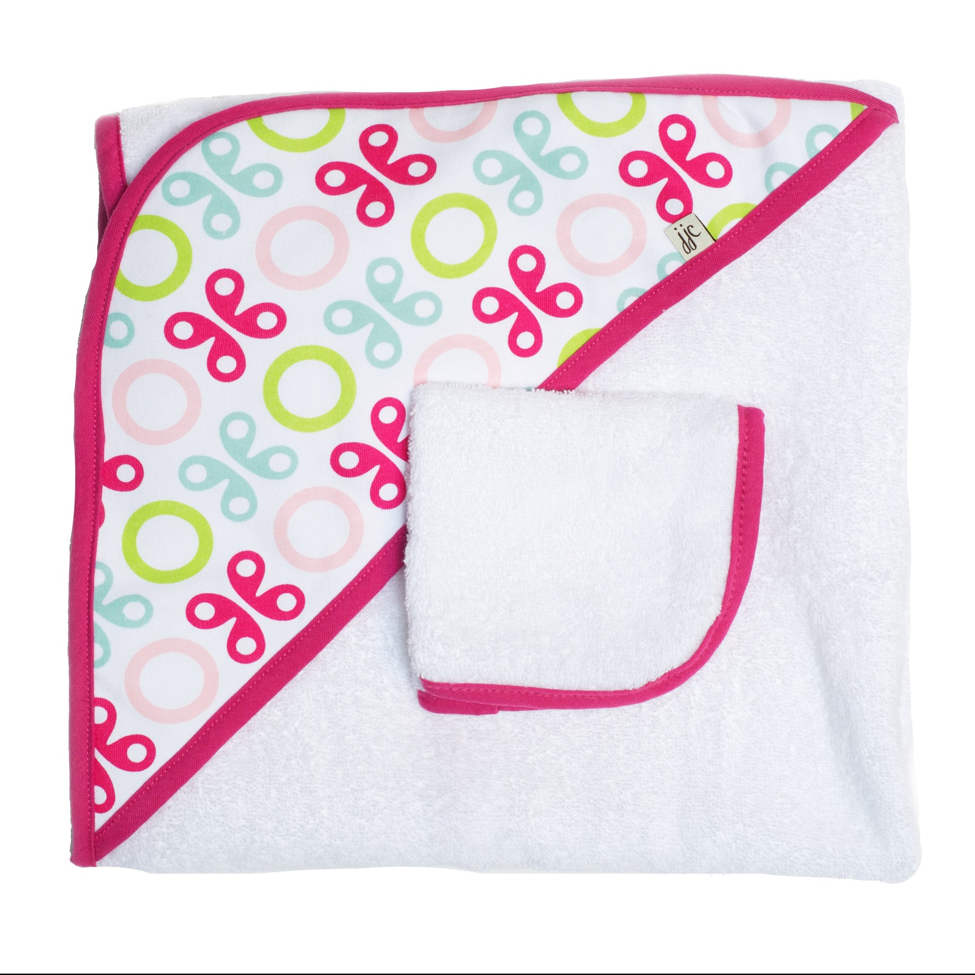 JJ COLE Hooded Towel - Pink Butterfly