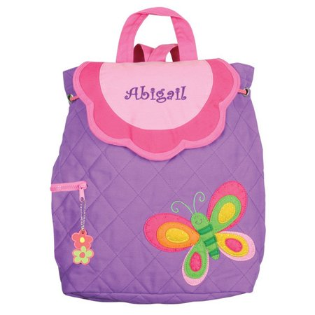 Personalized Girls Purple Embroidered Butterfly Quilted Backpack - Toddlers, Pre-school and Kindergarten